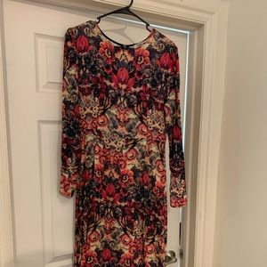 Anthropologie black and red floral dress